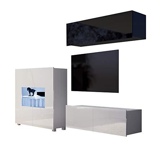 Selsey KIRDON - Wohnzimmer-Set/Moderne Wohnwand 3-TLG - Highboard mit Glaseinsatz, TV-Board und Hängeschrank (Schwarz/Weiß, LED in Blau)
