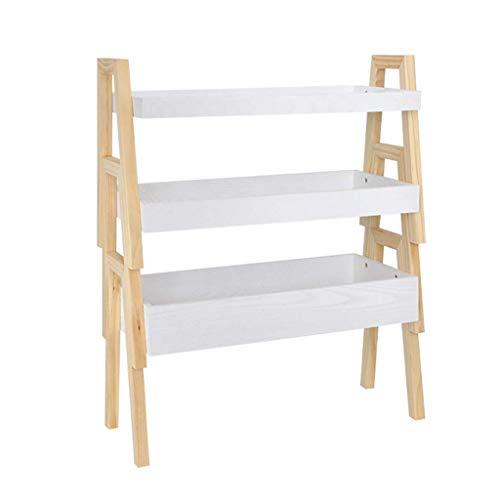 YINUO Plancher en bois massif à plusieurs étages Supports à fleurs et supports à viande Taille de support de stockage de boîte de stockage classifiée: 65x30x77cm (Color : White)