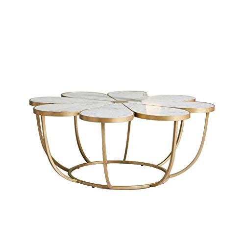 Tavolino da caffè a Forma di Petalo, ripiano in Marmo, Base in Ferro battuto, Decorazione Creativa per mobili, Bianco, (Dimensioni: 60 × 60 × 40 cm)