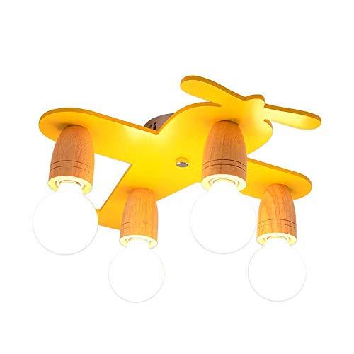 Creatieve plafondlamp van Scandinavisch massief hout voor kinderen in mediterrane stijl, hanglamp in de vorm van een gele vliegtuig voor slaapkamer L