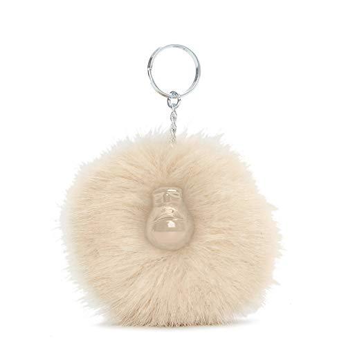 Kipling Pompom Monkey Keychain Silver Beige