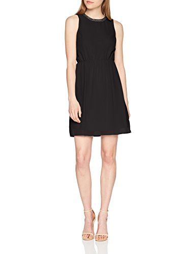VERO MODA Damen VMDENICE S/L Dress D2-2 Kleid, Schwarz (Black Black), 38 (Herstellergröße: M)