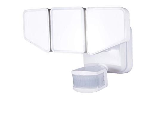 Enbrighten 2-in-1 LED Outdoor Flood Security Sensor, 3100 Lumens, 3 Adjustable, Selectable Color 2200K-5000K, Motion Light, Driveway, Patio, Front Yard, Garage, 40939, White 3 Head
