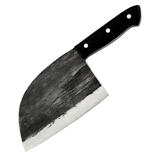 Cuchillo de cocina hecho a mano Forjado High Carbon Acero de carnicero Cuchillo de carnicero Clad...