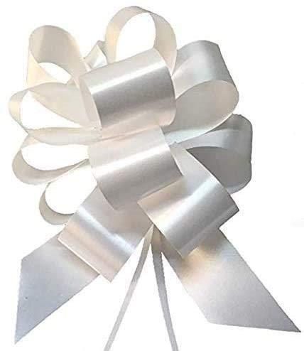 VIRSUS Coccarde Fiocco Autotiranti Bianche per Matrimonio, sposi, specchietto Auto, Nozze, Battesimo Comunione Varie Misure e quantità (50, 50 mm)