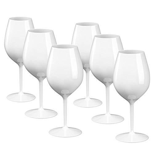 DoimoFlair Weingläser aus Kunststoff bruchsicher Weinbecher Sektgläser Plastik Weiß 51 cl. Set 6 Stück