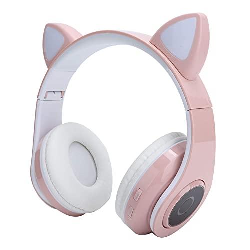 Auriculares Bluetooth, auriculares inalámbricos sobre oreja sobre oreja, auriculares para la oreja de gato con luz LED/cable de audio de 3.5 mm, plegable (púrpura) mei (Color : Pink)