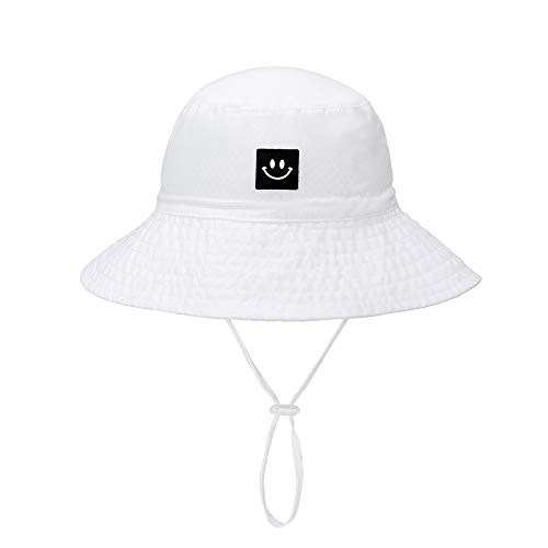 Baby Sun Hat Smile Face Toddler UPF 50+ Sun Protective Bucket hat Nice Beach hat for Baby Girl boy Adjustable Cap White