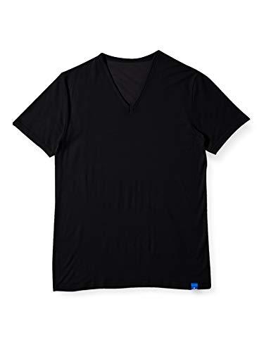 [グンゼ] インナーシャツ クールマジック 鹿の子【吸汗速乾×消臭】 VネックTシャツ MC2515 メンズ ブラック 日本 LL (日本サイズ2L相当)