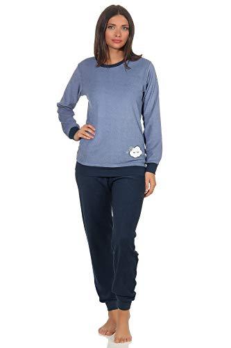 Damen Frottee Pyjama Langarm Schlafanzug mit Bündchen und süsser Applikation - 201 13 565, Farbe:hellblau, Größe2:40/42