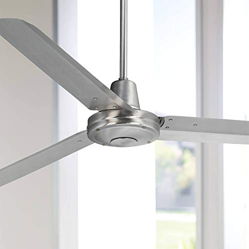 60 Turbina Industrial Contemporary 3 Blade Outdoor Ceiling Fan with Remote Control Brushed Steel Silver Metal Damp Rated for Patio Exterior House Porch Gazebo Garage Barn - Casa Vieja