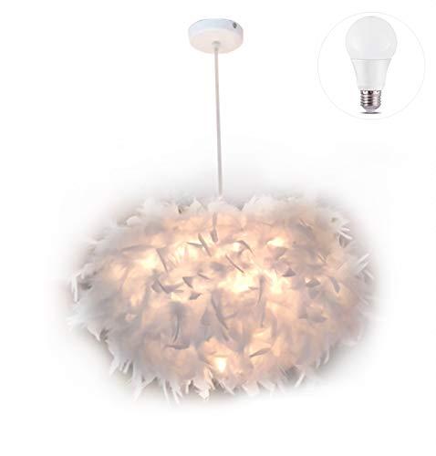 45 CM / 17,9 ZOLL Ellipsoidfeder Decken Kronleuchter Feder Lampenschirm Pendelleuchte Deckenleuchte mit 5 Watt Birne für Esszimmer, Wohnzimmer, Schlafzimmer, Restaurant
