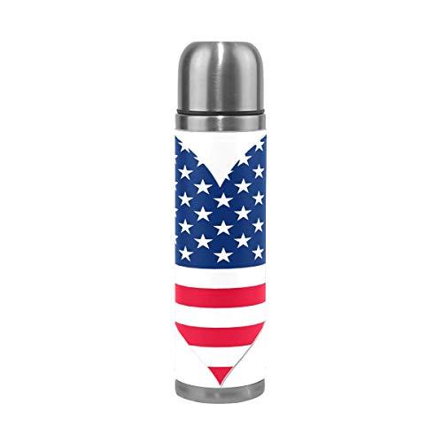 Tikismoile - Termo de acero inoxidable con diseño de bandera americana y francesa con doble pared para botella de agua y botella de agua de cuero, taza de viaje, regalo de cumpleaños para niños y niñas