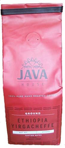 Ethiopian Ground Coffee, Yirgacheffe Coffee Region, Medium Roast Single Origin Coffee, Vacuum Sealed in Valve Coffee Bags to Maintain Fresh Roast in this Fair Trade Coffee (13.23oz/375gms)