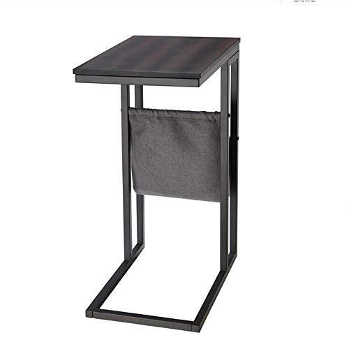 Jcnfa-bijzettafel C-type tafellamp bijzettafel, houten bureaublad metalen frame met opbergtas, nachtkastje in de slaapkamer, studietafel, laptop bijzettafel