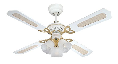 Westinghouse Ventilatore a Soffitto Princess Trio E14, 60 W, Finitura ottono lucidato, Pale, Canna/Bianco