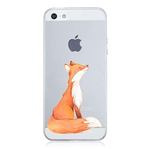 Caler Funda iPhone SE 5S 5 Case, Suave TPU Gel Silicona Ultra-Delgado Ligera Anti-rasguños Protección Patrones Populares Carcasa para Apple iPhone SE 5S 5 (Fox)