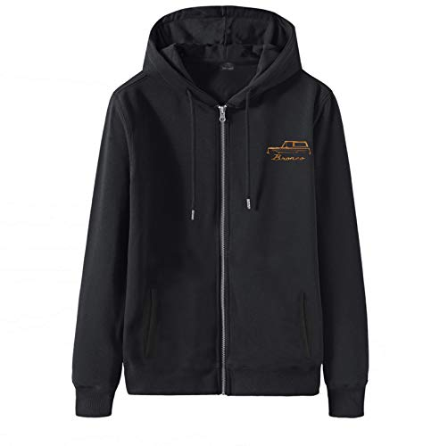Men's Classic Oversized Hoodie Plus Size Cotton Embroidery 1966-77 Ford Bronco Black