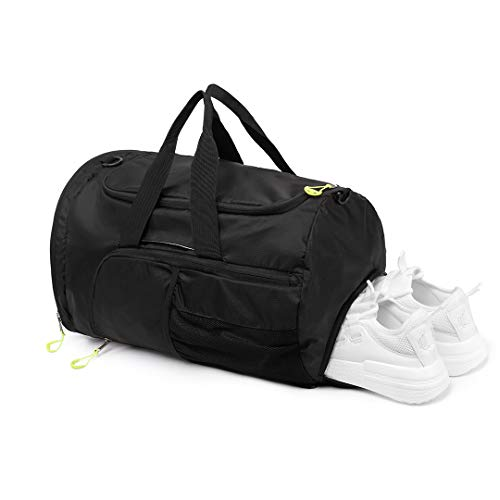 Kono Sports Duffel Bag Foldable Gym Overnight Bags Waterproof Lightweight Travel Versatile 3 Ways Carrying Backpack with Shoes Compartment Medium (Black)