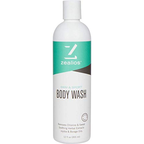 Zealios Skin Hydrating Body Wash - Swim & Sport Moisturizing Formula for Skin Relief from Pool Chemicals, Saltwater & Chlorine with Citrus Scent 12 oz