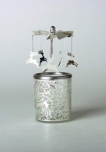 Kerzenfarm Hahn Glaskarussell Teelichthalter Windlicht 84345 Motiv Rentier Größe 16 x 6 x 6 cm Glaskarussel, Glas, Silber, 6 cm
