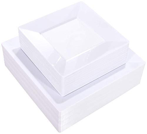 Liacere 60Pieces White Plastic Plates - Premium White Square Disposable Plates for Party/Wedding - Include 30Pieces 9.5inch White Dinner Plates - 30Pieces 7inch White Dessert/Salad Plates