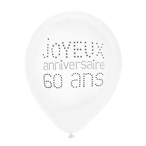 Chal - Ballon Joyeux Anniversaire Blanc 60 Ans x 8