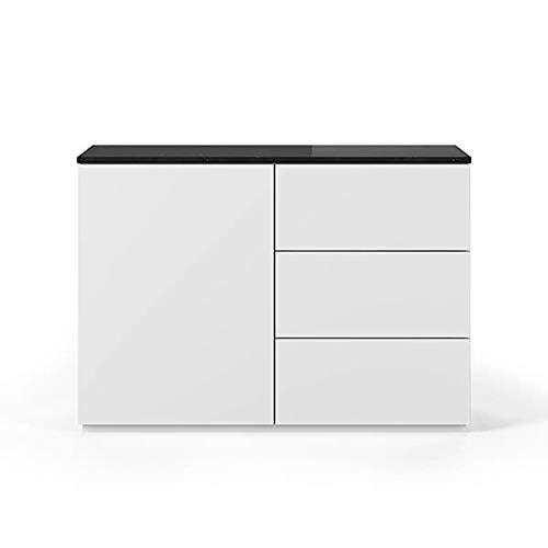 Buffets Design et élégants, Collection Join, signée TEMAHOME. - Join 120H2, Base Classique, Blanc Mat, Plateau en marbre Noir