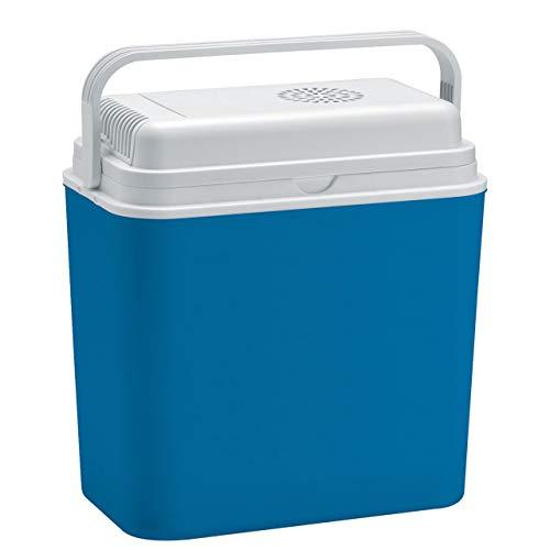 Linder - Kühlbox mit Strom 24L 12 Volt - elekrische Kühltasche fürs Auto LKW Wohnmobil Thermoelektrische Kühlbox - Mini Kühlschrank Camping blau grau