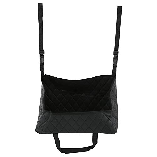 Deror Auto Handtaschenhalter Netztasche zwischen den Sitzen Nylon PU Leder Schwarz für Telefon Tablet Geldbörse Zeitschrift Parfüm Schwarz