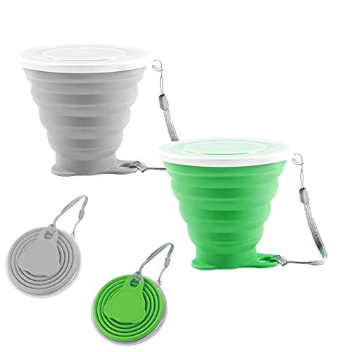 Faltbare Tasse Silikon 2 Stück Versenkbare Zusammenklappbare Reisebecher Faltbecher Camping Reise Klappbecher mit Deckel für Camping-Wanderungen Im Freien (Green Grey)