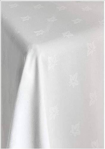 Sleep&Beyond Pure Cotton Damask Ivy Leaf Pattern Table Cloth (White, 54x90')