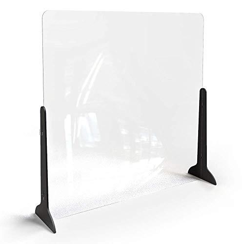 Klemp Spuckschutz Hustenschutz Niesschutz Thekenaufsatz Tischaufsatz Tresenaufsatz Antibakteriell Glasklar Spritzschutz aus Plexiglas mit Standfüßen - 100x100 cm