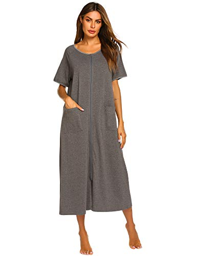 Ekouaer Womens Long Robe, Soft Zip-Front Bathrobe Grey