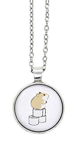 schmuck-stadt Hamster Toilettenpapier Motiv Cabochon Kette 60 cm Silber-Farben