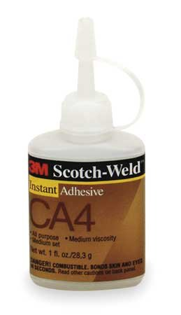 3M Scotch-Weld CA4 Cyanoacrylate Adhesive Clear Liquid 1 oz Bottle - 96600 [PRICE is per BOTTLE]