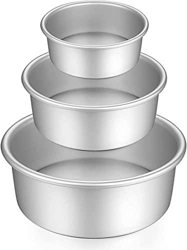 Juego de moldes redondos de aluminio anodizado, 3 piezas para hornear con base extraíble para tartas y fiestas de cumpleaños, Navidad (5 '7' 9')