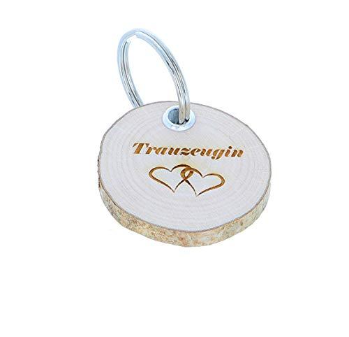 Schlüsselanhänger Holz Geschenk mit Gravur für Trauzeuge, Trauzeugin, Taufpatin, Taufpate, liebster Mensch, Motiv:Trauzeugin