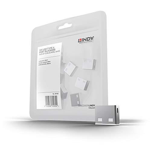 LINDY 40464 - Bloqueador de puertos USB (sin llave), pack de 10 bloqueadores, color blanco