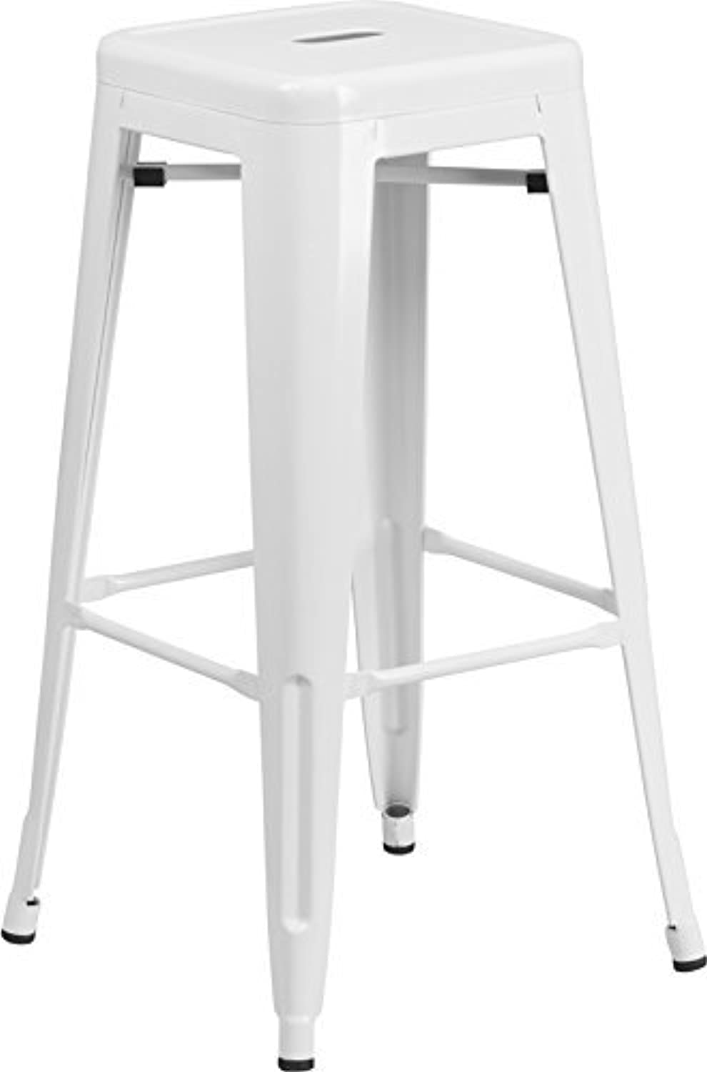 OCC Set of 2- Tolix style Backless Metal Industrial Stack Bar Height Stool- Stackable Metallica Cafe Bar Stools Stacking Barstool- White