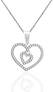 Best double halo diamond pendant necklace in sterling silver Reviews