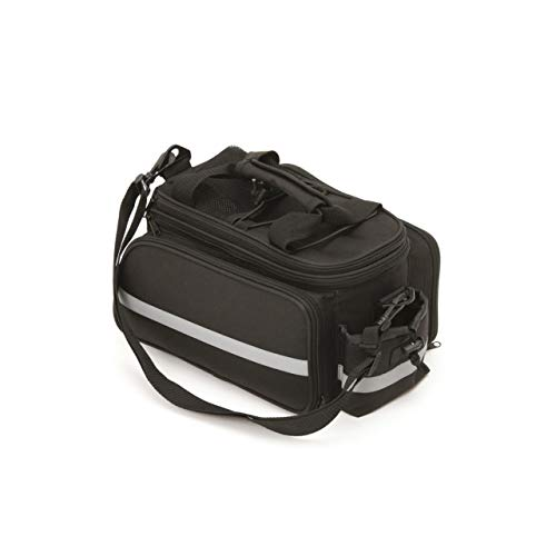 FISCHER Gepäcktasche Vario mit Reflexstreifen | schwarz | 12 x 33 x 29 cm | 14,5 bis 25 Liter | inkl. Regenschutz