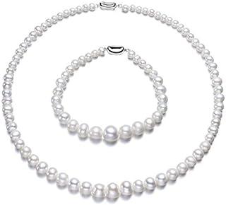 Esclusivo set di gioielli Licia Jewellery: collana di perle e bracciale con perle di diverse dimensioni (più piccola al ce...
