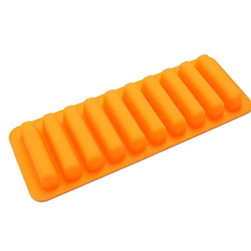 lulongyansf Silicon Eiswürfel-Form-Finger Keks 10-Loch-Form-Kuchen-Werkzeuge Küche Bakeware Silikon-antihaft-Zylinder Silicon-EIS-Gitter-Form DIY Küche Bakeware Orange