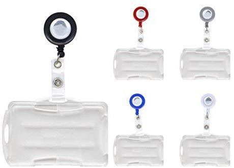 Schmalz Forfait Carte D'identité JoJo Silver avec INCL. Porte-Cartes pour 2 Format Paysage/Portrait Ouvrir Support télescopique Clé Porte-clés rôle Clé - Gris