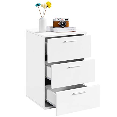 Yaheetech 3 Drawers Nightstand Chest Dresser with Metal Handles Cabinet Sofa End Table for Bedroom/Living Room, White, 40x35x60cm