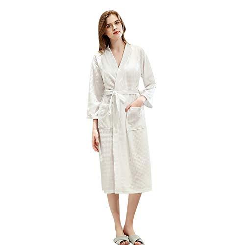 Bata de Franela de Punto para Mujer Albornoz Largo Pijama Espesado Terciopelo Robe Bata de baño Pajamas Ropa de Dormir con Bolsillo camisón 79