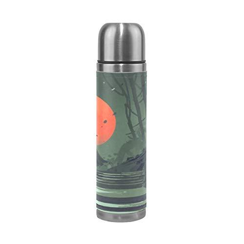 XiangHeFu Thermos Waterfles, lekvrij, cadeau, reisbeker, houdt je koud of warm, sport, volle maan en laatste nacht