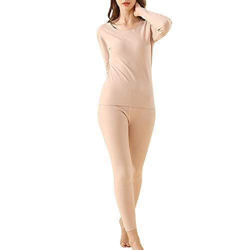 XHBYG Bata, Conjunto de Ropa Interior térmica para Mujer para Piel de Invierno Camisa térmica Femenina Pijamas Invierno Térmico Suave Bata de casa Ropa de Estar para Ella XXL Caqui