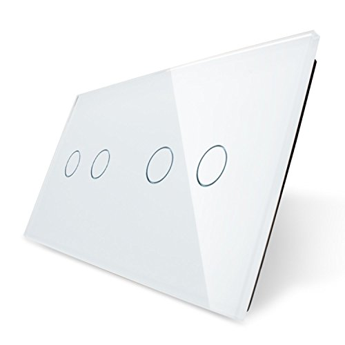 Touchpanel für zwei doppelte Lichtschalter von Garnitura®, weiß